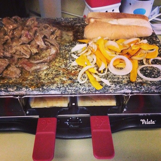 #raclettewars Philly cheesesteak sandwiches on the #velata raclette. Super easy and yummy! hollysnow.velata.us