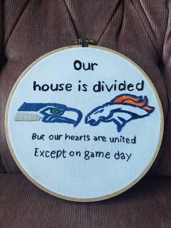 Our House is Divided  |   https://www.etsy.com/listing/581174789/nfl-house-divided-seahawks-broncos-house