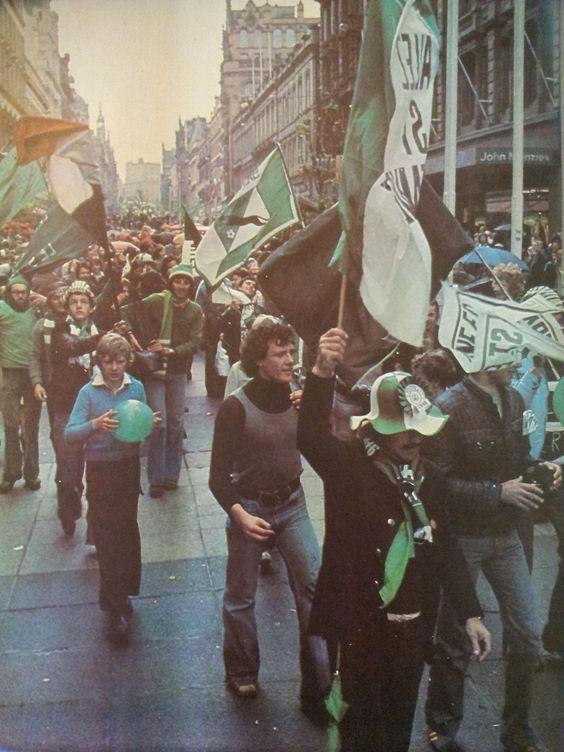 supporters stephanois a Glasgow mai 1976