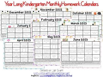 Monthly Homework   Miss Lee s Kindergarten The calendars  August through June  include activities for each weekday   all of them