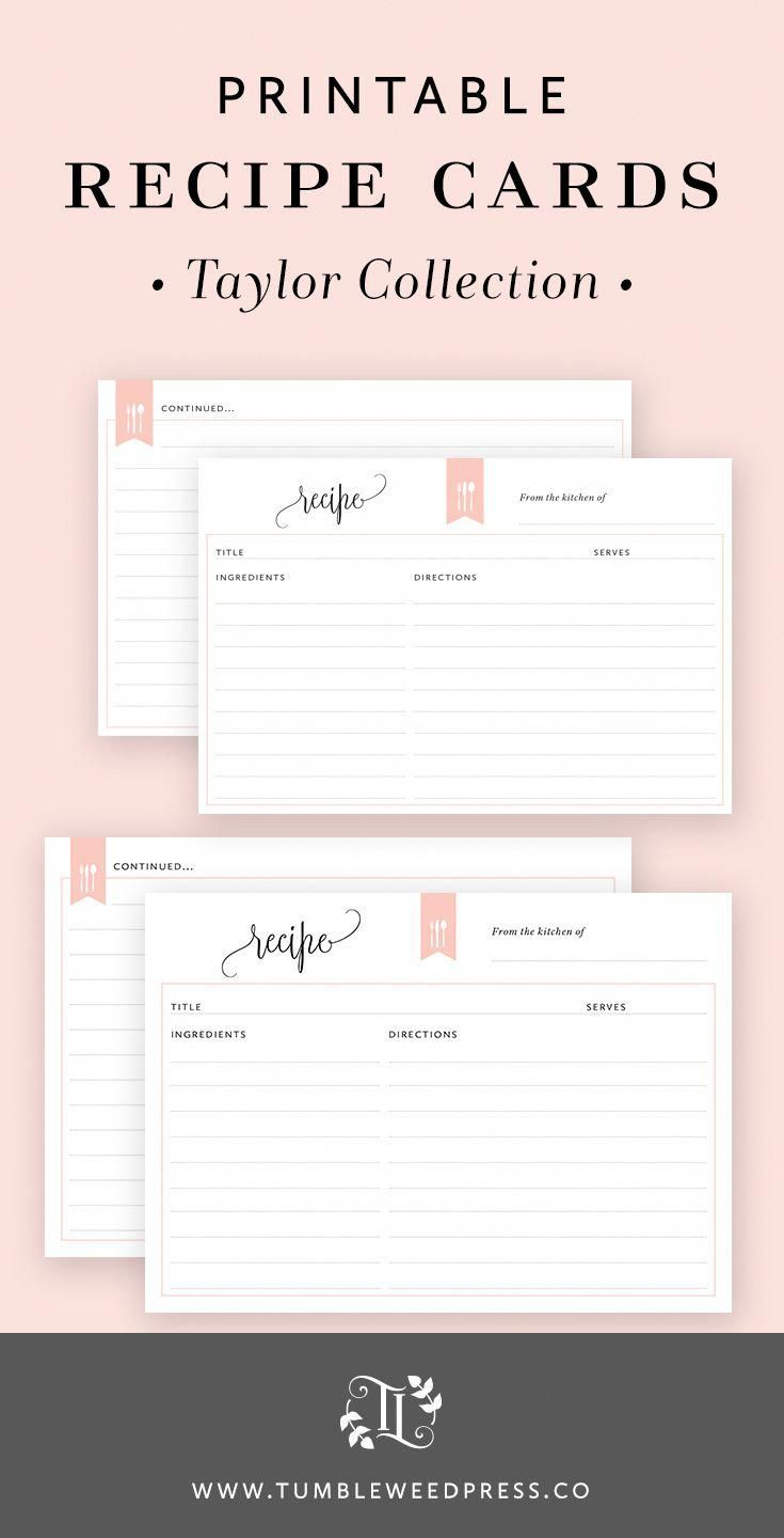 recipe cards printable taylor collection by tumbleweedpress co