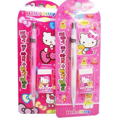 Hello Kitty Mech Pencil & Eraser Set (Pink or White) by Sanrio. $2.96. Hello Kitty Mech Pencil & Eraser Set (Pink or White). Hello Kitty Mech Pencil & Eraser Set (Pink or White)