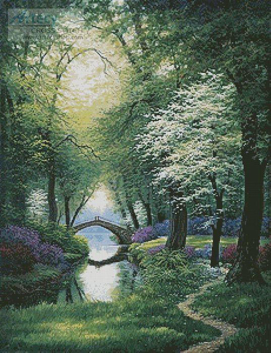 Artecy Cross Stitch. Beside Still Waters (Spring) Cross Stitch Pattern to print online.