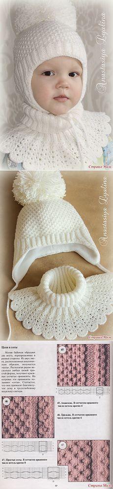 Шапка и манишка для девочки спицами и крючком для зимы.