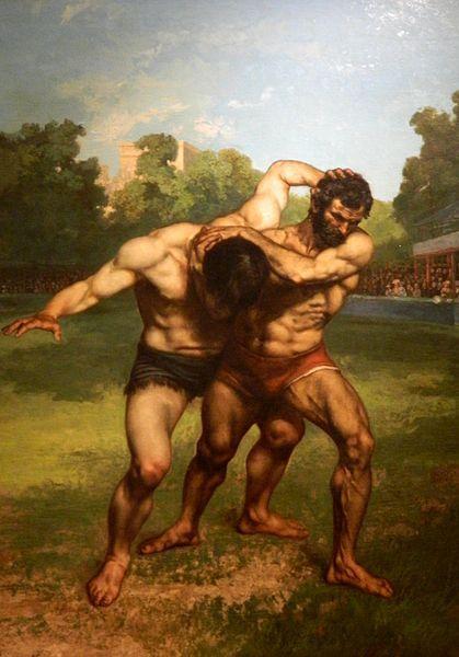 어떻게 싸우는가? 1. 몸싸움  (the wrestlers-gustave courbet作) 설명: 벌판 위에서 근육질의 남자 둘이 몸싸움을 하고 있다. 팔에 붙잡힌 남자도 지지않고 상대의 머리를 붙잡고 판세를 뒤집으려고 시도한다. 우람한 근육이 잘 묘사되어 둘의 역동적인 모습이 잘 나타나있다.