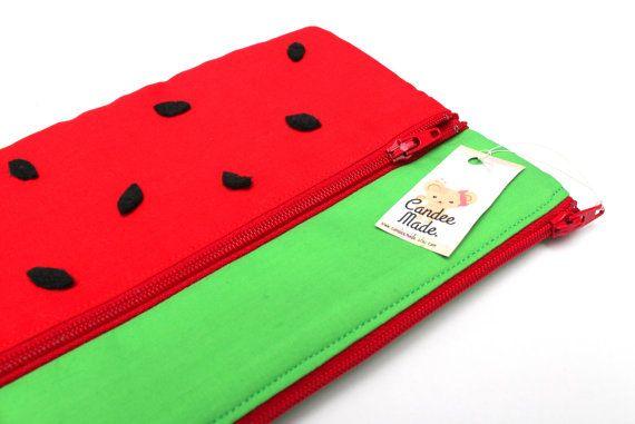 Sale! Large Wonderful Watermelon Pencil Case/ Makeup Bag 23.5cmx14.5cm With Two Zippers and Black Felt Seeds