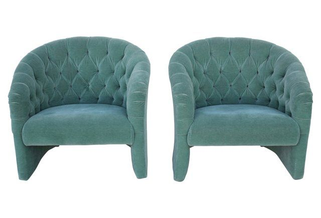 Tufted Velvet Chairs, Pair