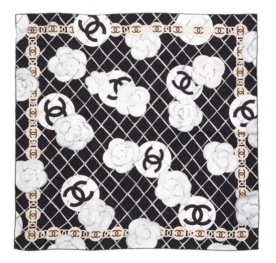 CHANEL. PARIS. BLACK AND WHITE LOGO SILK SCARF VINTAGE