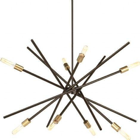 Luminaire suspendu fait de plusieurs tige bronzes.