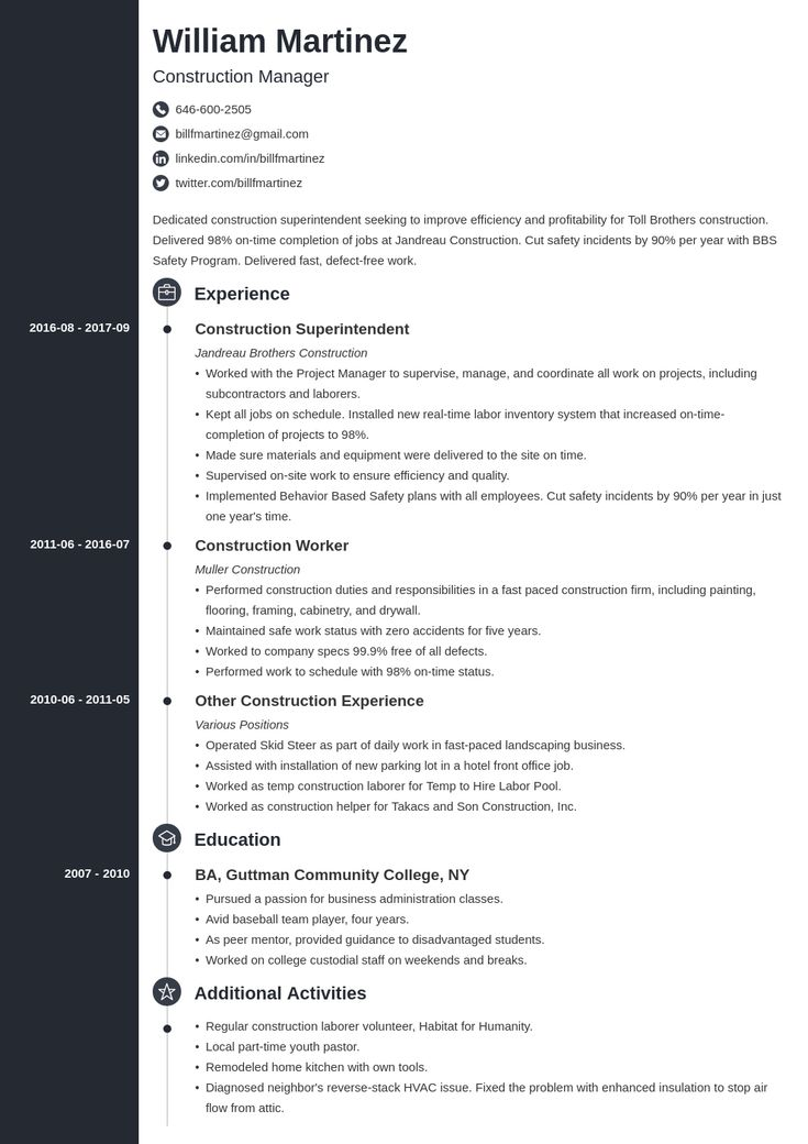 Construction resume example template concept in 2020