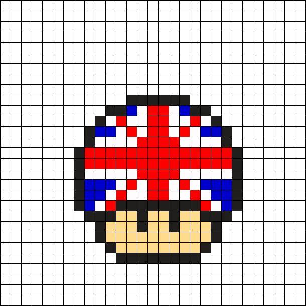 Union Jack Mushroom Perler Bead Pattern