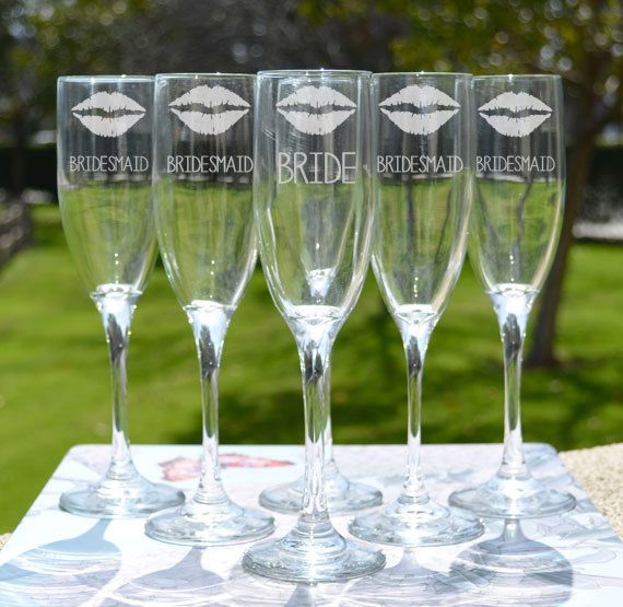 Bridesmaid Gift - Bridal Party Gift - Personalized Toasting Glass (x1) - Glass Champagne Flute - Custom Champagne Glass - Wedding Gift on Etsy, $12.95