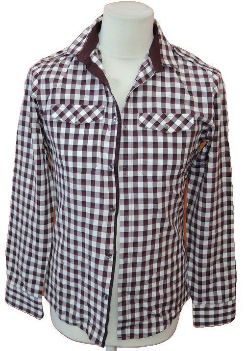 BRUMLA.CZ – Značkový dětský a dospělý second hand a outlet, použité oděvy pro děti a dospělé - Pánská vínovo-bílá kostkovaná košile zn. River Island vel. S