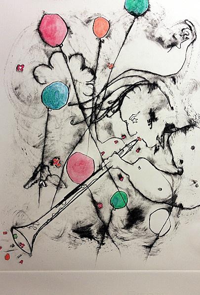 Klarinetist Antikrise 2013 - Ollivier Fouchard - Engraving 50x70 cm