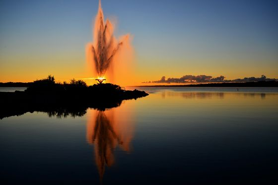 Sunrise at the Rotary Fountain at Kempenfelt Bay, Barrie, Ontario, Canada