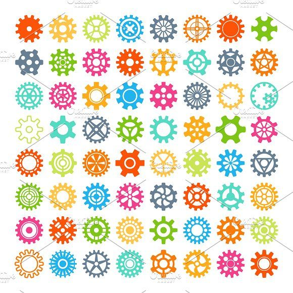 Round element gears icons - Illustrations