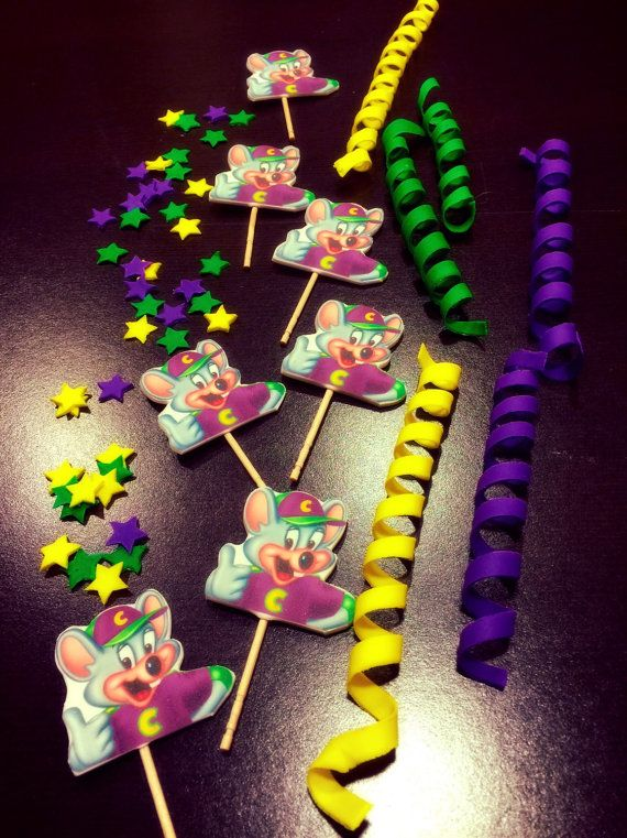 Chuck E Cheese Cupcake Toppers by SugarLoveAndHappines on Etsy