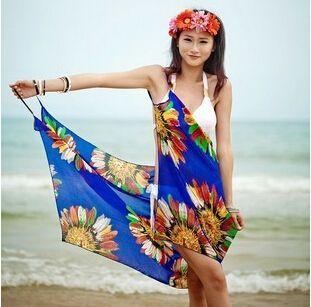 Verão Sexy vestido havaiano maiô de banho de biquíni Swimwear Sarong xaile 6 cores de seda(China (Mainland))