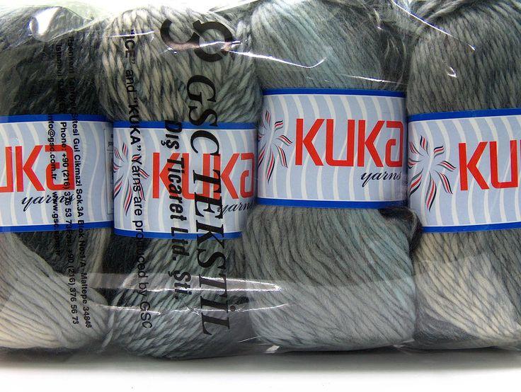 Grå Striper 100% ull  Magic Wool DeLuxe White Grey Blue Black