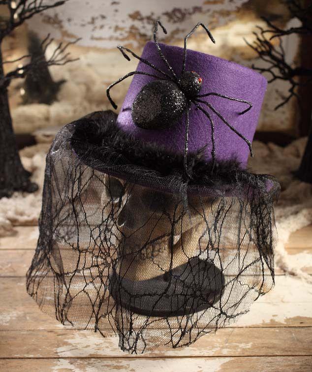 Purple Halloween Top Hat with Spider