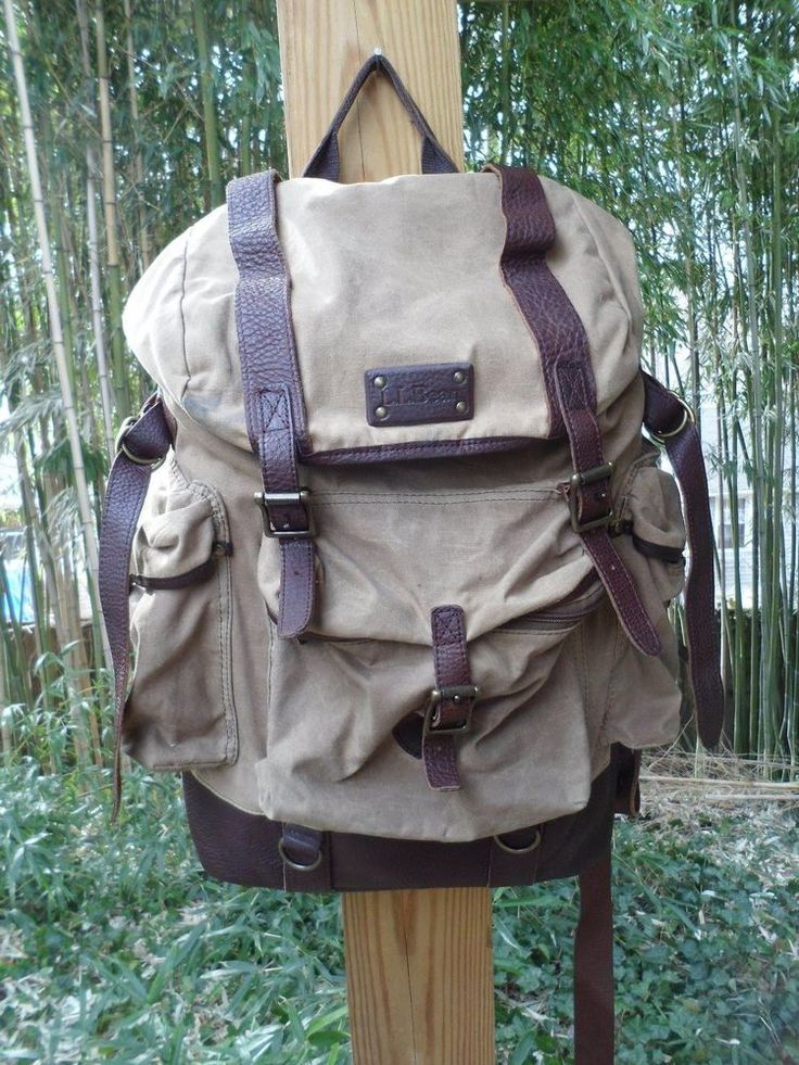 Ll Bean Waxed Cotton Canvas Amp Leather Continental Backpack