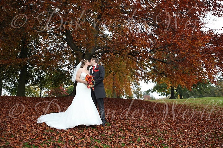 AUTUMN (FALL) KISSES ...at Helen and Daniel's midweek wedding at Wynyard Hall Country House Hotel, England