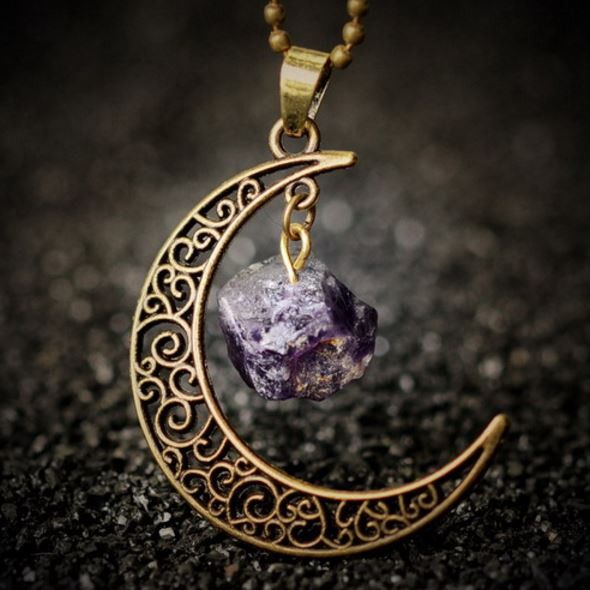 Moon Necklace Amethyst Stone