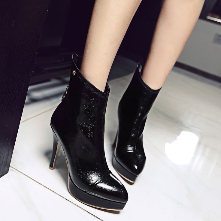 High Quality New Fashion Women Ankle Boots Pointed Toe Platform High Heels Back…