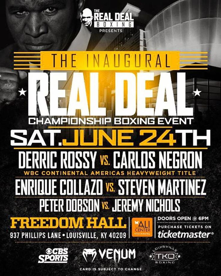 """New York, NY/Louisville, KY – May 25, 2017 –  Evander Holyfield's Real Deal Sports & Entertainment, in association with Top Knotch Boxing and Kentucky Venues, has announced that its promotional debut will be a quadruple-header televised live on CBS Sports Net, on Saturday, June 24, at 10pm ET, from Freedom Hall, in Louisville, KY. The inaugural installment of the """"Real Deal Championship Boxing"""" series, branded as """"Evander's Tribute to Ali"""", will be a part of the local """"I AM ALI"""" Festival in…"""