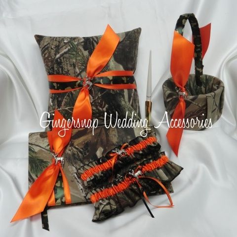 camo and hunter orange wedding flowers - Google Search reuben-erin-wedding