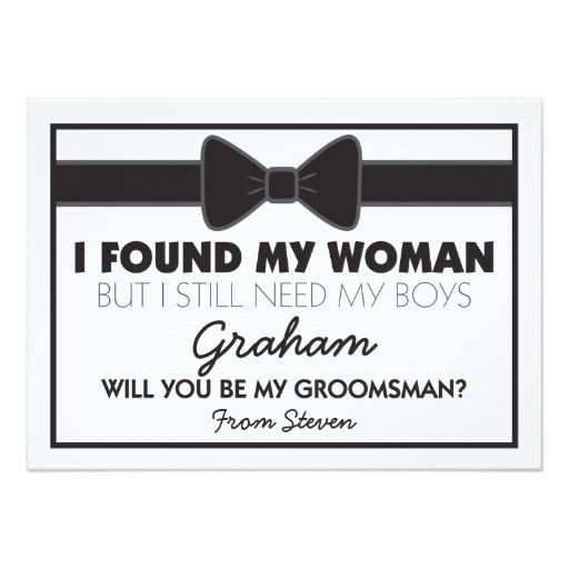 Will You Be My Groomsman Black/White Bow Tie Invite