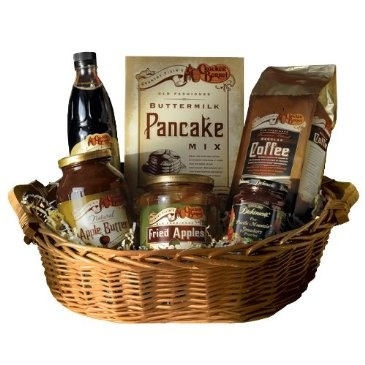 Gave this to my Dad and Step Mom last year, they LOVED!!!!! it!!!!    Breakfast Gift Basket http://shop.crackerbarrel.com/Breakfast-Gift-Basket/dp/B009PP83QY