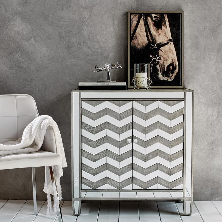 Mirrored Cabinet with Chevron Pattern/Tables & Consoles/Furniture|Bouclair.com