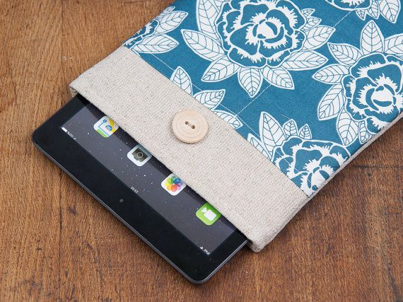 iPad case. iPad mini or iPad AIR case with white flowers pocket and button, sleeve, bag, pouch. Tablet case. iPad 1 2 3 4 cover.