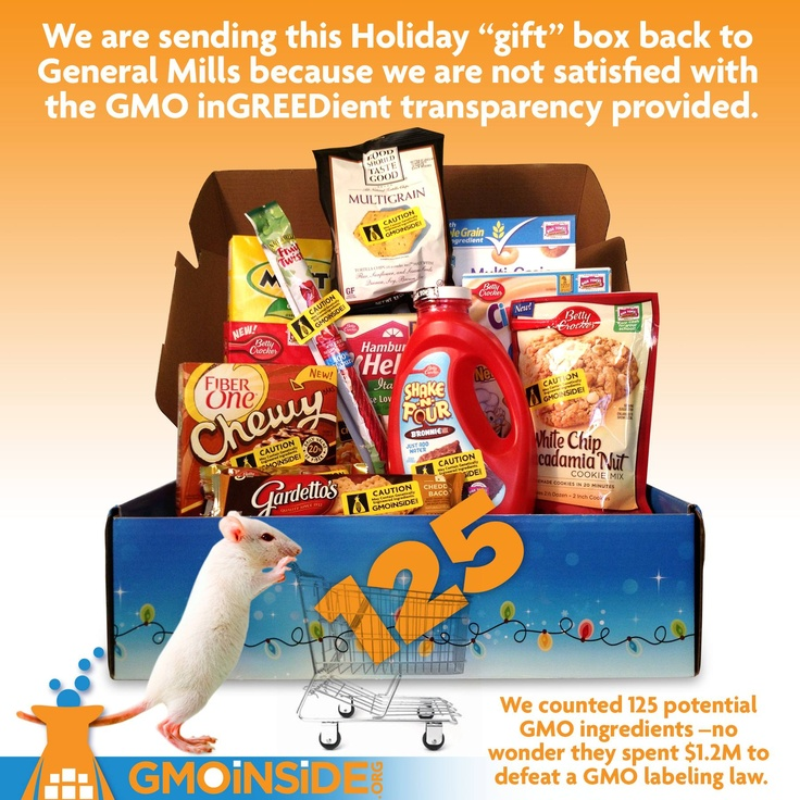 We counted 125 potential genetically engineered ingredients in this holiday gift box that are unlabeled so we are sending this back to General Mills because we are not satisfied with their lack of transparency. Send it back attack!!