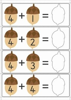Math Centers for Kindergarten - Autumn / Fall. 123 pages. A page from the unit: Acorn addition.