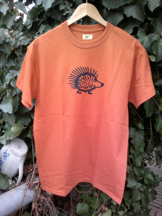 Hedgehog  brick-colored short sleeve T-shirt by Akombakom on Etsy