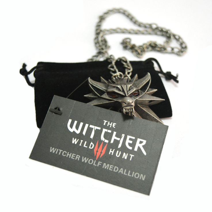 1 Bag and 1 Card The Witcher 3 Wild Hunt Medallion Pendant and Chain Necklace * You can find out more details at the link of the image.