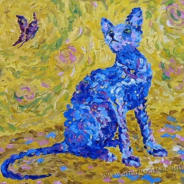 Blue cat on a yellow by Margoarts on Etsy