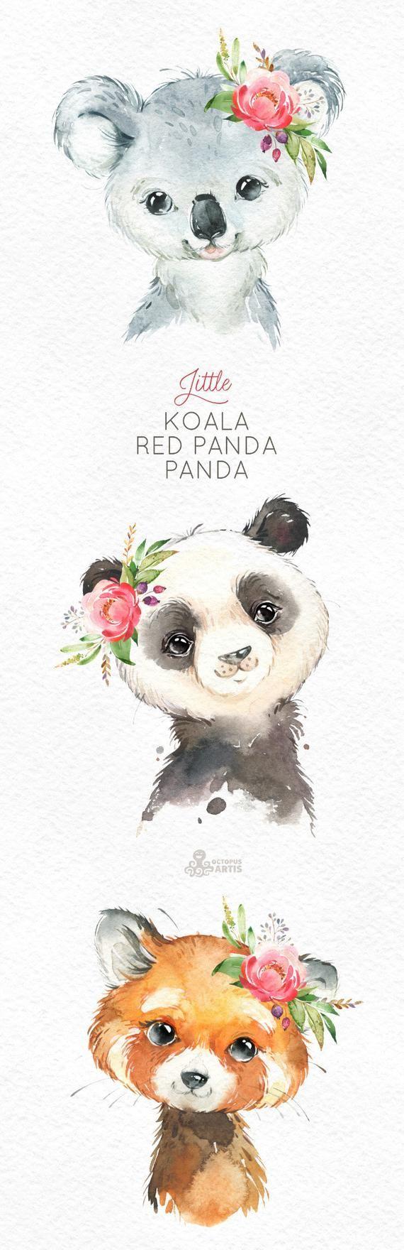 Little Koala Red Panda Panda Watercolor Animals Clipart Etsy Dessins Mignons Dessin Koala Dessin Kawaii