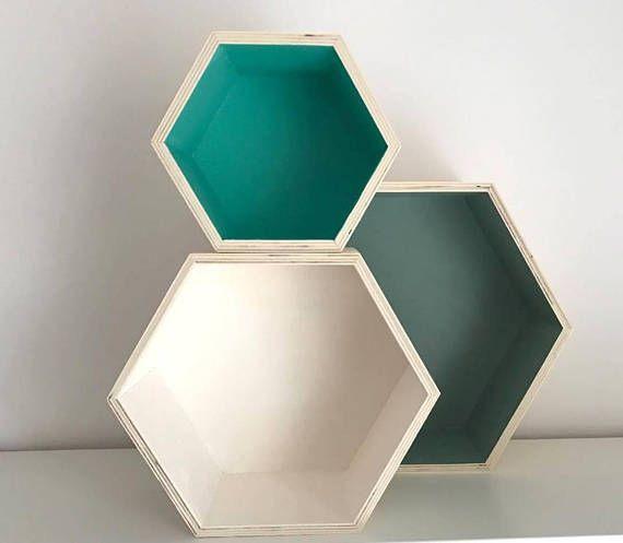 Shelf boxes / Country green / Mint & white set of 3 / Shelves