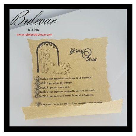 PVP: 5 € (Descuentos por cantidad) Invitación personalizada de papel tipo pergamino o papiro,impresión láser.