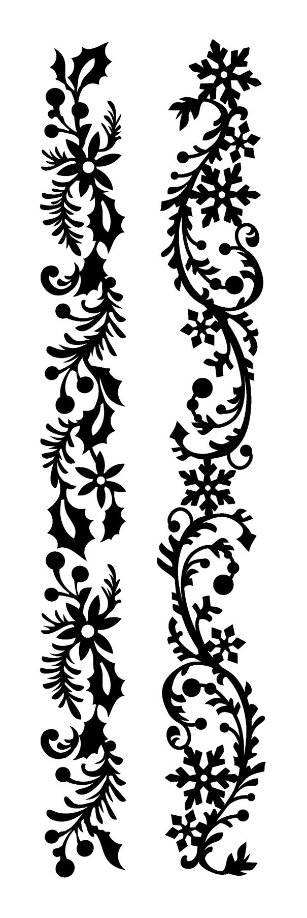 Holly garland. Snowflake garland. Silhouette for cutting machines.