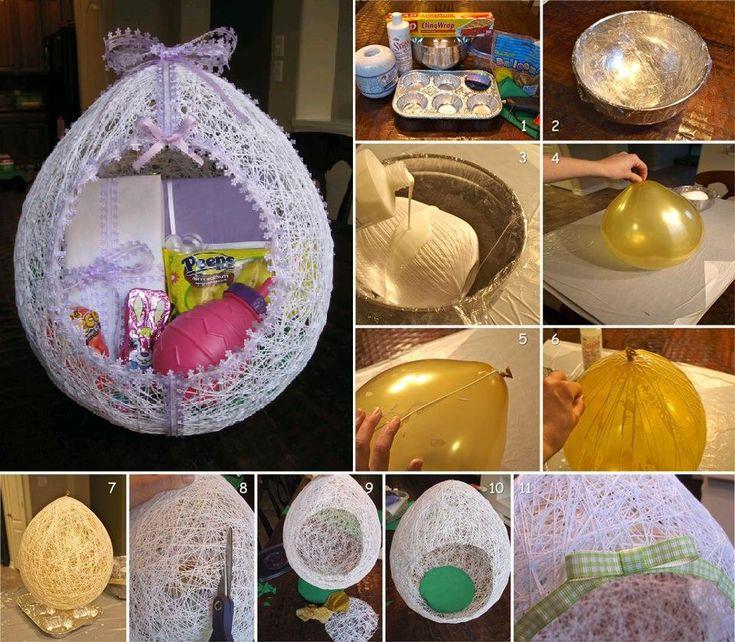 DIY Egg Shaped Easter Basket From String thumb