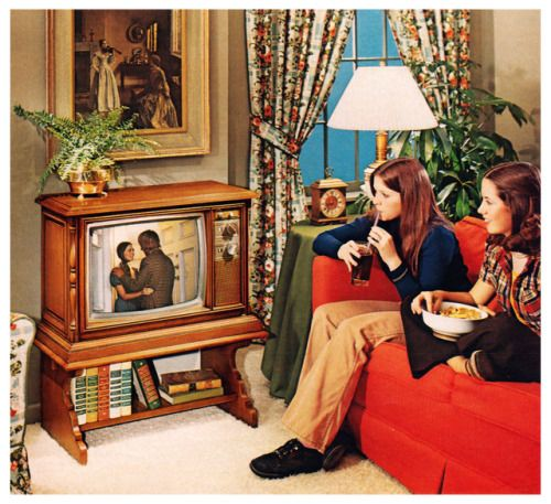 1975 Living Room With Tv Retro Interior Design Vintage Television Retro Decor