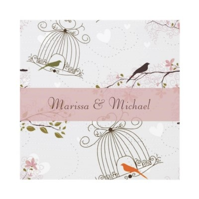 Whimsical Birdcage Wedding Invitation Pink & Brown at Zazzle.ca