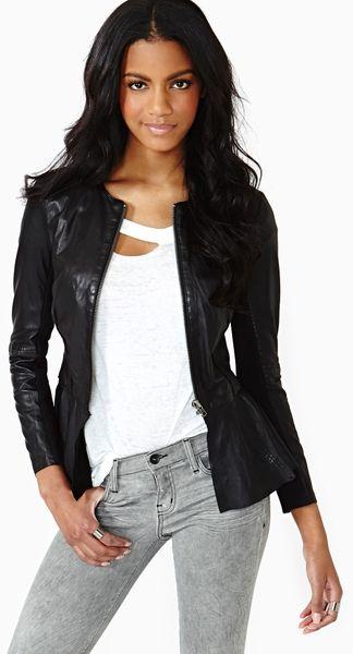 Obsidian Peplum Leather Jacket - Lyst