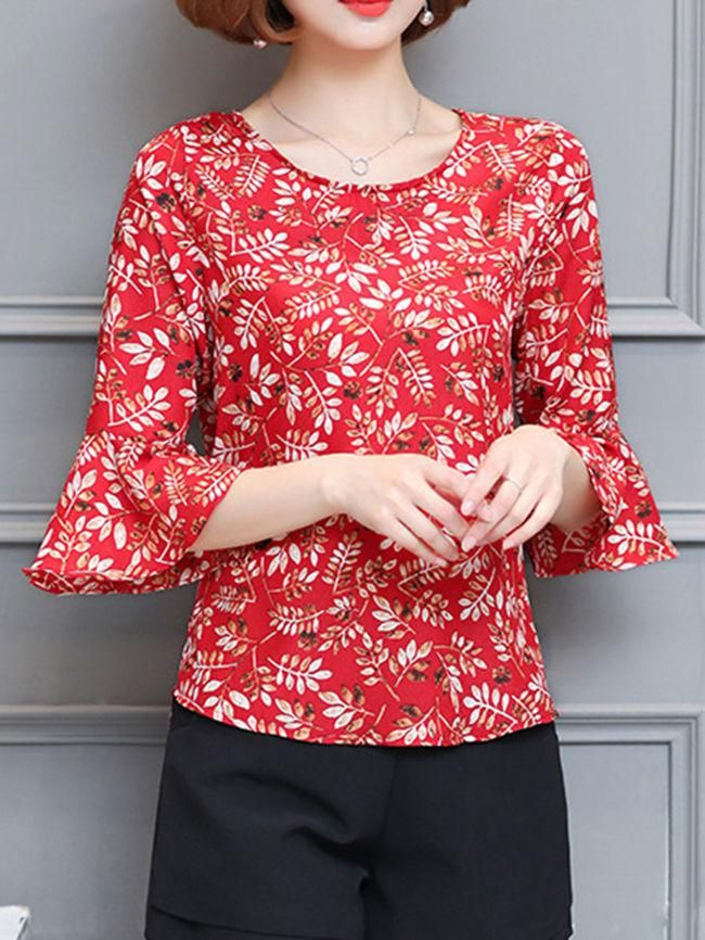 Round Neck Abstract Print Bell Sleeve Blouse