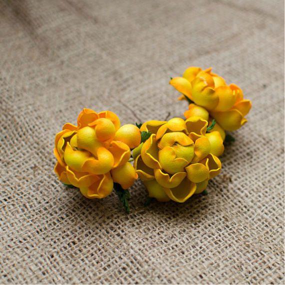 Yellow Rose Foam Flowers 6 pcs Mixed Flower Jewelery making