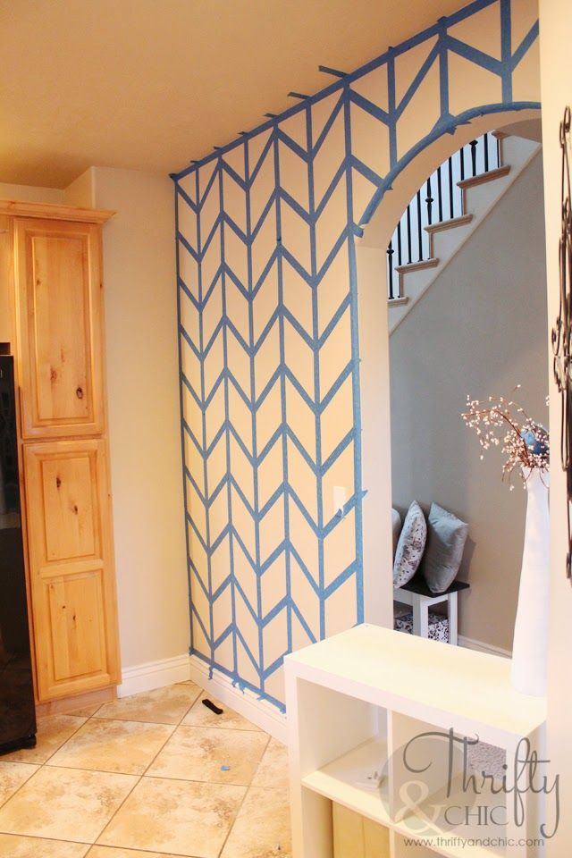 Herringbone painted wall tutorial: looks like a lot of work, but I'll pin it in case I'm feeling ambitious.